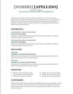curriculum vitae gratis word